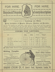 Advert For Iroquois Company, Bike Hire & Repairs